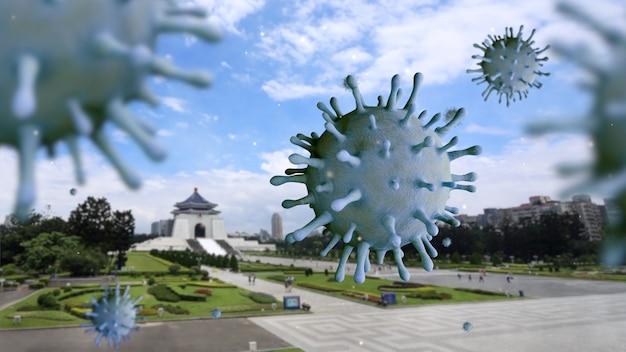 中正紀念堂の記念碑に浮かぶインフルエンザコロナウイルス