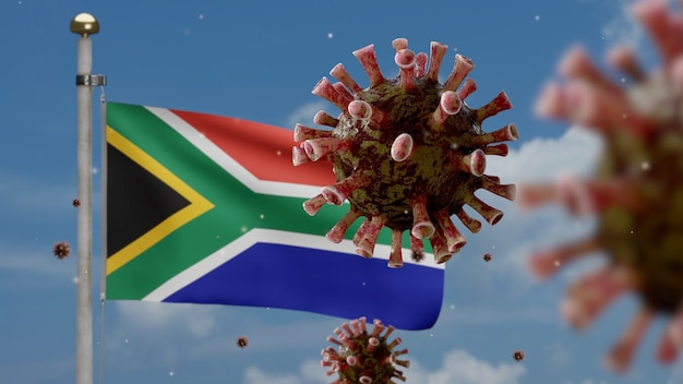 호흡기를 공격하는 병원균 인 아프리카 rsa 깃발 위에 떠 다니는 독감 코로나 바이러스. covid19 바이러스 감염 개념의 전염병을 흔들며 남아 프리카 공화국 배너. 실제 패브릭 질감 소위