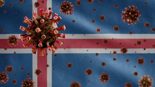 호흡기를 공격하는 병원균 인 아이슬란드 깃발 위에 떠 다니는 독감 코로나 바이러스