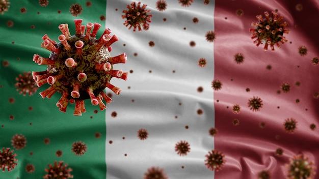 이탈리아 국기 위에 떠 다니는 독감 코로나 바이러스, 호흡기를 공격하는 병원체.
