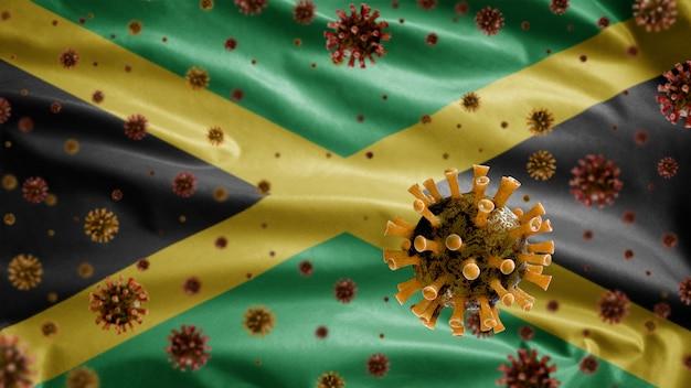 気道を攻撃する病原体であるジャマイカの国旗の上に浮かぶインフルエンザコロナウイルス。