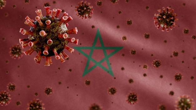 모로코 국기 위에 떠 다니는 독감 코로나 바이러스, 호흡기를 공격하는 병원체