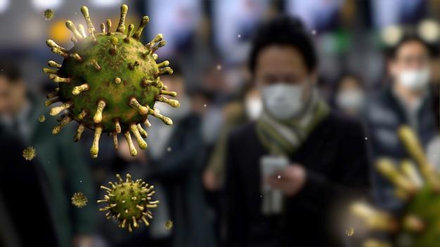 일본 시나가와 역 사람들 위에 떠 다니는 독감 코로나 바이러스