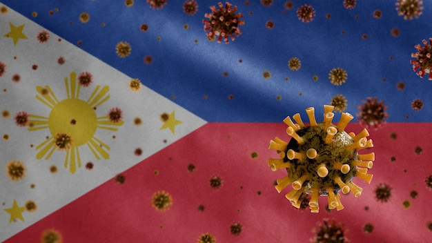 気道を攻撃する病原体であるフィリピンの旗の上に浮かぶインフルエンザコロナウイルス
