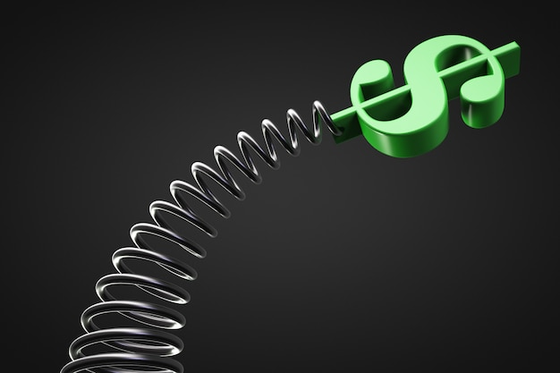 Fluctuating dollar value concept. the dollar symbol on the spring is swinging.