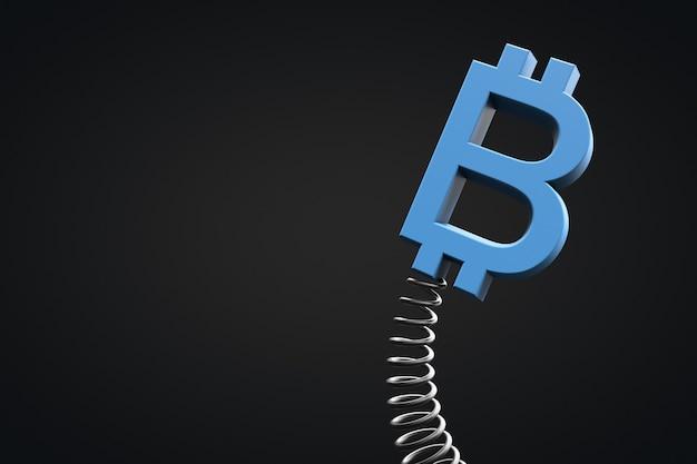 暗号通貨の概念の価値の変動。春に揺れるビットコインのシンボル。