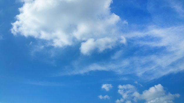Fluffy clouds in blue sky background