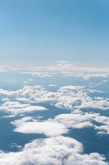 Fluffy clouds seen from airplane