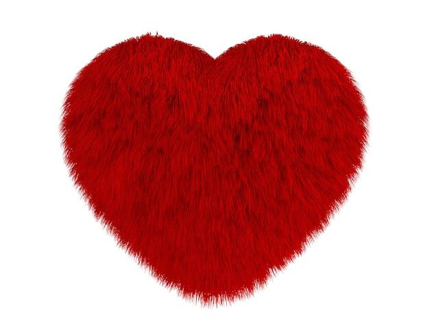 Fluffy red heart on white