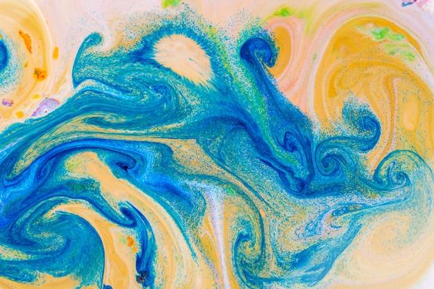流体アート青黄色パターン
