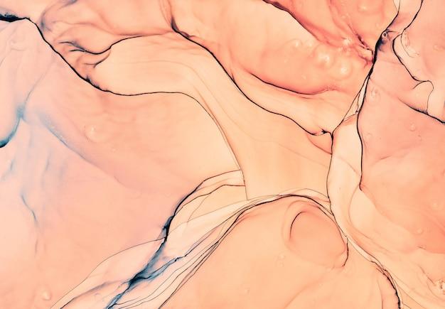 유체 예술 대리석 질감입니다. 배경 추상 무지개 빛깔의 페인트 효과입니다. 액체 아크릴 아트웍이 흐르고 튀었습니다. 인테리어 포스터용 혼합 페인트. 알코올 잉크 색상은 반투명합니다. 디자인 페이퍼