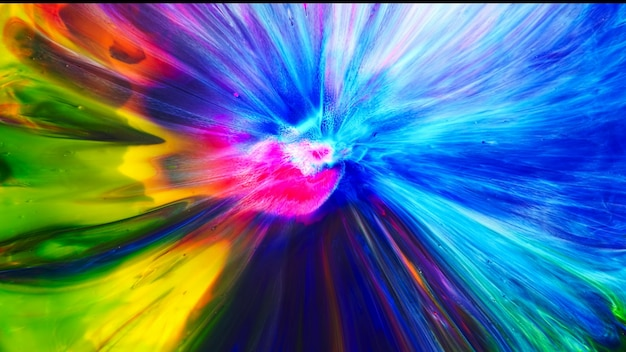 フルイドリキッドアートアクリル油絵の具の質感。背景の抽象的なミキシングペイント効果。液体色のアクリルアートワークが水しぶきを流します。色があふれる流動的なアートテクスチャ