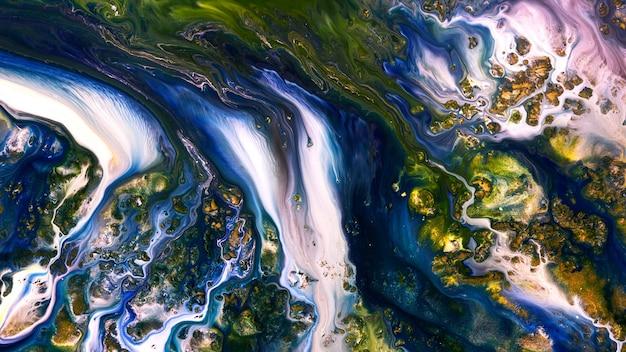 Акриловые масляные краски fluide liquide art текстуры. фон абстрактный эффект смешивания краски. жидкие цветные акриловые картины текут брызгами. жидкая художественная текстура, переполняющая цвета