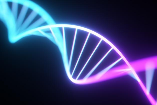 Флуоресцентная ультрафиолетовая неоновая цепочка днк