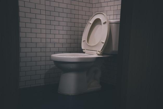 수세식 변기 현대적인 욕실의 회색 벽 옆 조명 근처에 있는 세라믹 흰색 변기