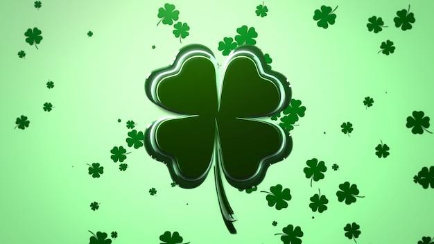 Летайте большие и маленькие зеленые трилистники на блестящем фоне дня святого патрика. роскошный и элегантный стиль 3d-иллюстрации для праздничной темы
