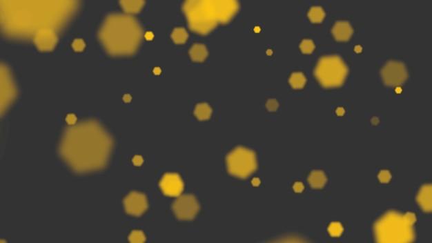 光沢のある背景に金と黄色の抽象的なボケと粒子を飛ばします。冬休み明けましておめでとうとメリークリスマスのテーマの豪華でエレガントな3dイラストスタイルテンプレート