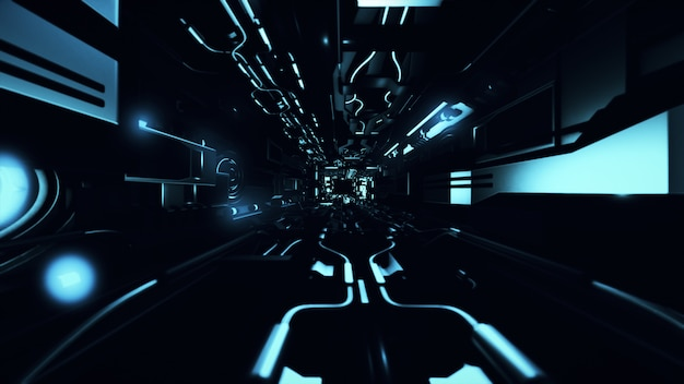 Fly inside of futuristic metallic corridor 3d rendering