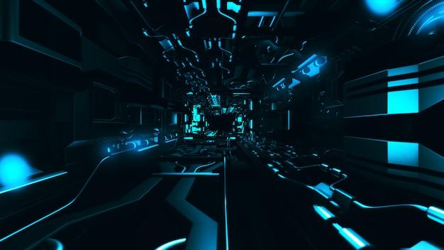 미래의 금속 복도 3d 렌더링 내부 비행