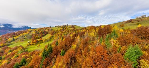 Пролетайте над пейзажами зеленых холмов под слоем белых и пушистых облаков.