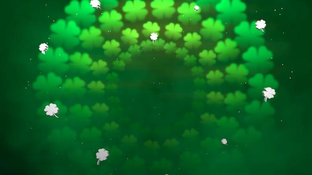 Летайте маленькие зеленые трилистники на блестящем фоне дня святого патрика. роскошный и элегантный стиль 3d-иллюстрации для праздничной темы