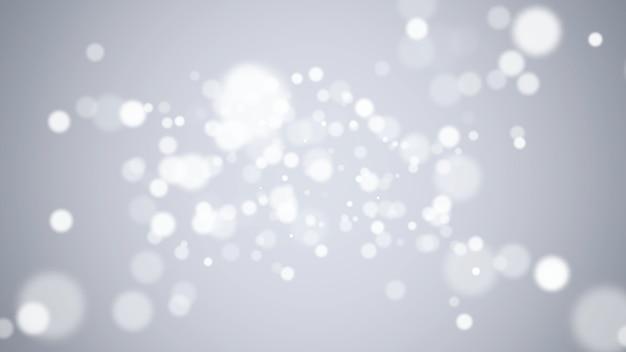 光沢のある背景に白い抽象的なボケと粒子を飛ばします。冬休み明けましておめでとうとメリークリスマスのテーマの豪華でエレガントな3dイラストスタイルテンプレート