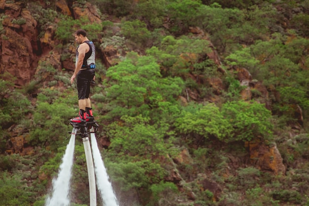 Flyboard on lake during party