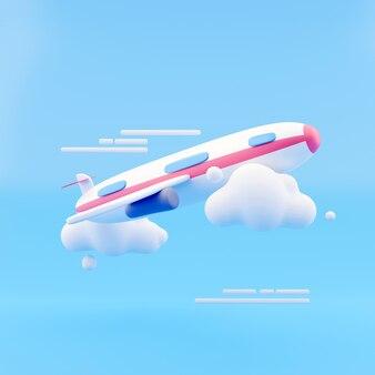 Летающий самолет воздуха с облаком на синем фоне. креативная минимальная концепция. 3d рендеринг