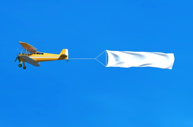 Flying airplane and banner on blue sky