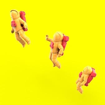 Flying astronauts - 3d illustration