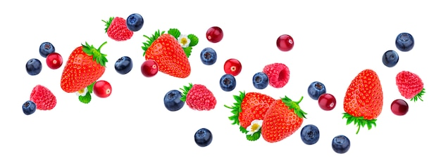Flying berries isolated on white background with clipping path