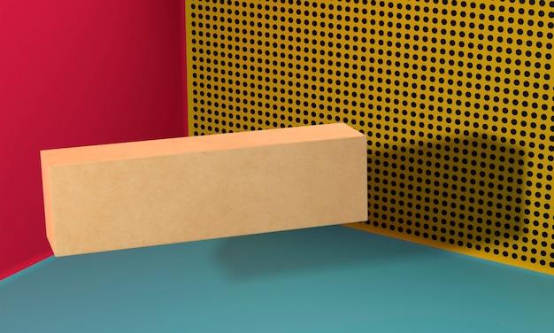 Flying brown copy space cardboard box