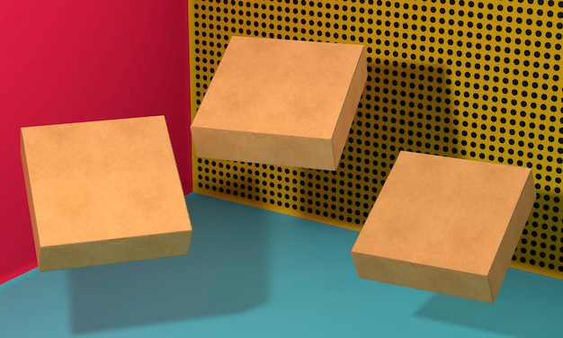 Flying brown empty simplistic cardboard boxes