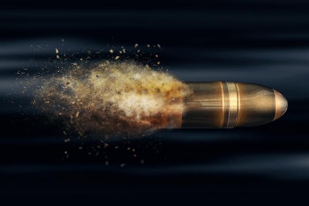 Летающая пуля со следом пыли