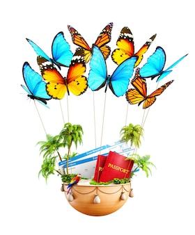 열대 섬, 여권, 탑승권이 들어 있는 바구니를 들고 날아다니는 나비. 특이한 여행 삽화. 외딴