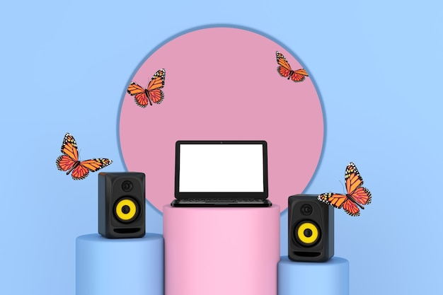 Flying butterfly between  audio studio acoustic speakers, modern laptop notebook over pink and blue pedestal promo stands on a pink and blue background. 3d rendering