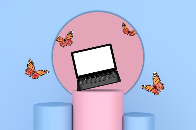 Flying butterfly between modern laptop notebook over pink and blue pedestal promo stands on a pink and blue background. 3d rendering