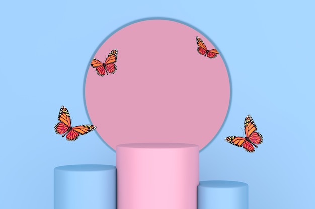 Flying butterfly between pink and blue pedestal promo stands as duontone style on a pink and blue background. 3d rendering
