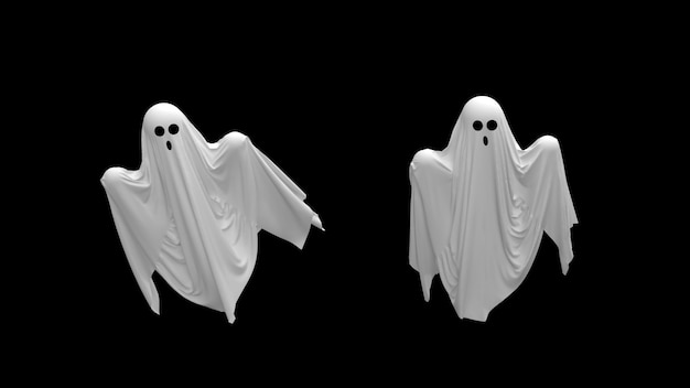 Flying cartoon white ghosts