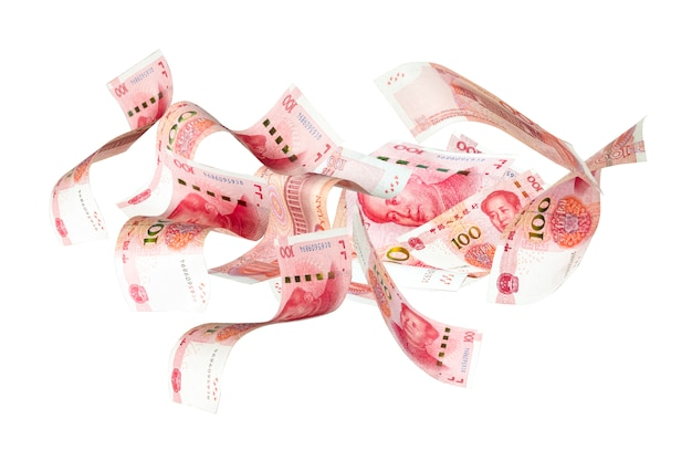 Flying of china yuan banknote flying antigravity