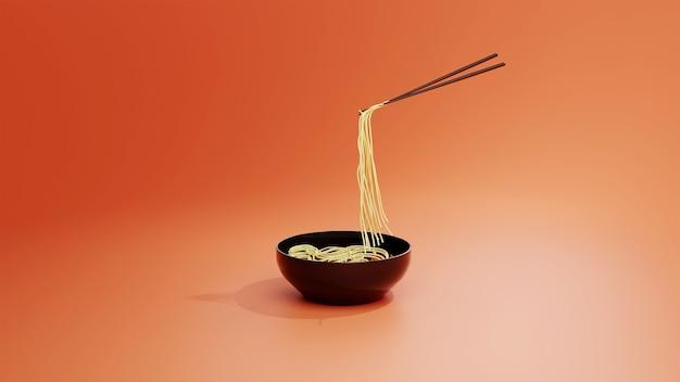 Летающие палочки для еды с лапшой на красном фоне в 3d визуализации
