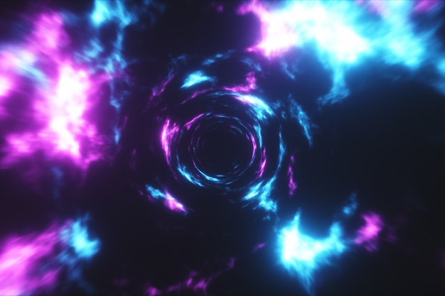 Flying in a colorful abstract energy tunnel in outer space