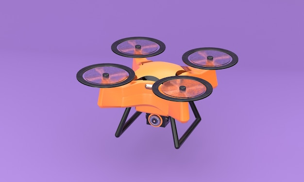Летающий дрон на фиолетовом фоне 3d визуализации