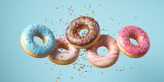 Flying frosted посыпанные пончики. набор разноцветных пончиков с изолятом брызг на цветном фоне. 3d-рендеринг.
