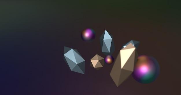 Flying geometric shapes in motion. 3d render illustration.