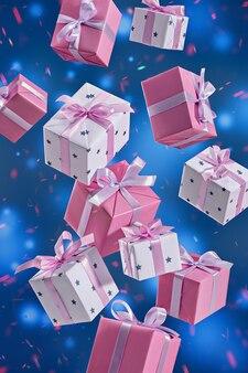 축제 파란색 표면에 비행 선물 상자