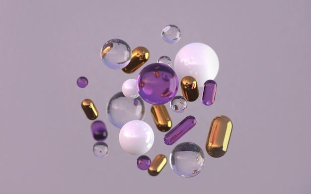 金色の真珠とガラスの幾何学的形状が動きます。リアルな球体を浮かび上がらせるダイナミックなセット濃い紫色のモダンな背景3dレンダリングイラスト