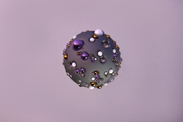 Flying golden pearl and glass geometric shapes in motion  dynamic set of levitating realistic spheres modern background  in dark purple  color 3d render illustration