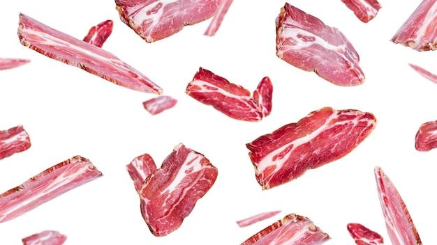 Flying ham slices background