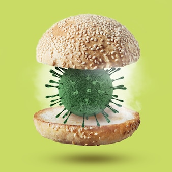 코로나 바이러스의 박테리아 모델로 햄버거 롤빵 비행. 코로나 바이러스, covid-19 또는 대유행 개념의 발생.